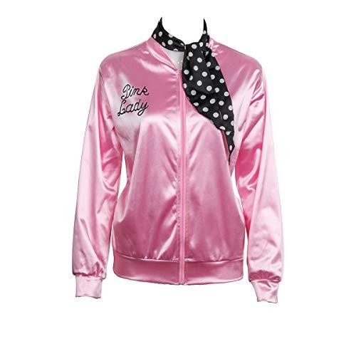 CISSTEC Damen 1950 satin-jacke mit halstuch-halloween-kostüm-abendkleid-props 3x-large rosa