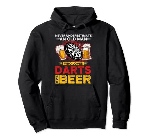 Nunca subestimes dardos y cerveza Dart player Sudadera con Capucha
