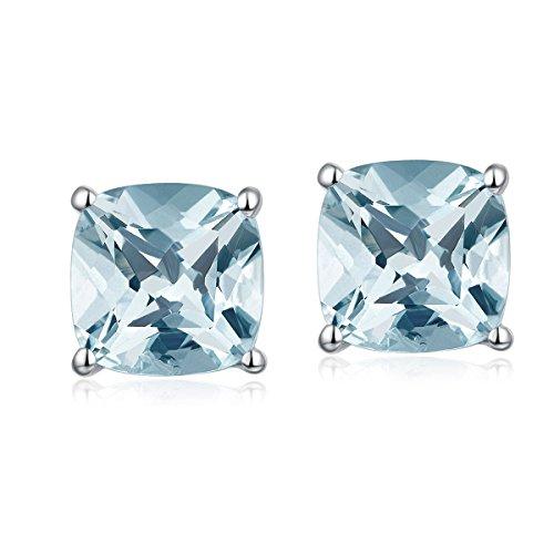 Hutang Jewelry Ohrstecker, massives 925er Sterlingsilber, 1,8 Karat, natürlicher Aquamarin, 6 mm, Edelsteinschmuck