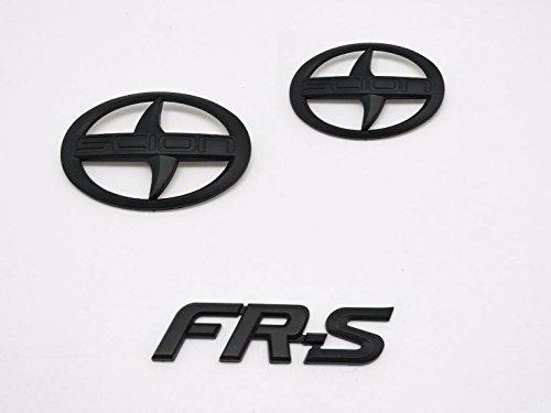 Zizii SC-02MB+SC-FMB 3 Pieces Black Out Scion GT86 FR-S Front Hood Rear Badge Emblem FRS F/R PAIR FGB For SCION (2011-2016) (Matter Black)