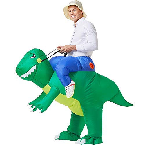 YEAHBEER Inflatable Dinosaur Costume T-Rex Fancy Dress Halloween Blow up Costumes Adult (Green Dinosaur Adult)