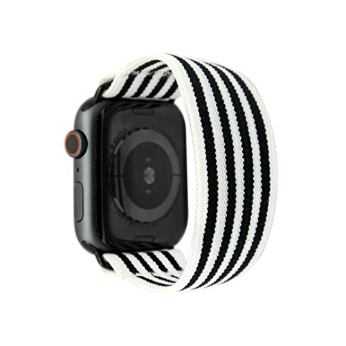 Tefeca Stripe Pattern Elastic Compatible/Replacement Band for Apple Watch 42mm/44mm (Black Adapters, S fits Wrist Size : 6.0-6.5 inch)