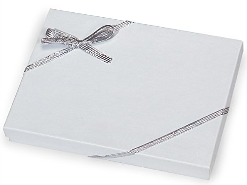 Pack Of 50, 10' Met. Silver Stretch Loops 1/4' Wide Elastic Ribbon w/Bow Great For Jewelry Boxes
