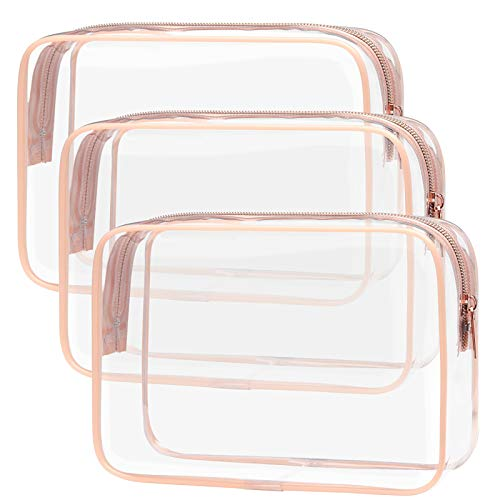 Clear Makeup Bag with Zipper, Packism 3 Pack Beauty Clear Cosmetic Bag...