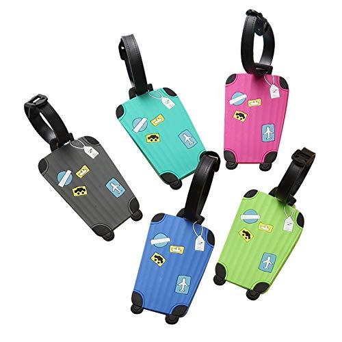 MountRise-Tags Reisegepäckanhänger, PVC süßer Emoji Koffer mit Ausweisetikett, für Tagesrucksäcke, Haustieranhänger, Kinderwagen, 5er Pack