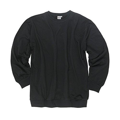 Herren Sweatshirt schwarz Big Size 100% Baumwolle Rundhals in Übergrößen XXL bis 12XL, Größe:XXL