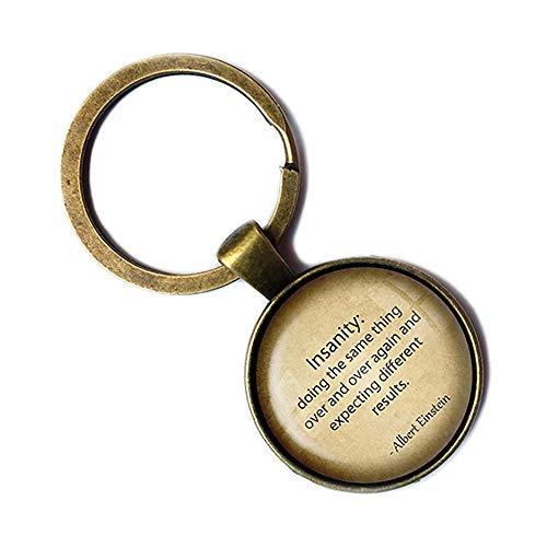 Albert Einstein Definition of Insanity Wahnsinn Keychain Bronze Schlüsselanhänger