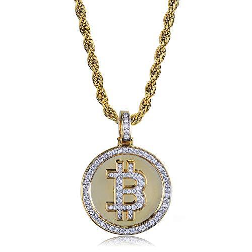 Hip Hop Bitcoin Symbool Hanger Ketting, Micro-ingelegd Zirkoon Ketting Hanger AccessoiresSieraden