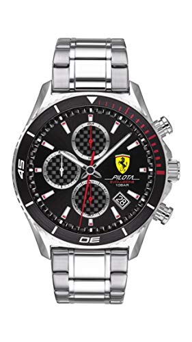 Ferrari Men's Pilota EVO Quartz Watch with Stainless Steel Strap, Silver, 22 (Model: 0830772)