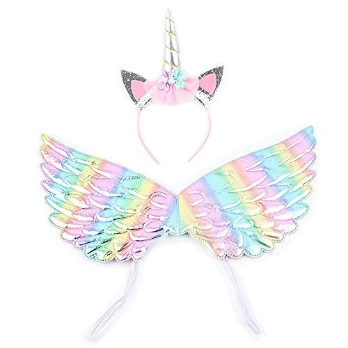 Diadema de unicornio y alas de ángel, Accesorios de Halloween para fiesta...