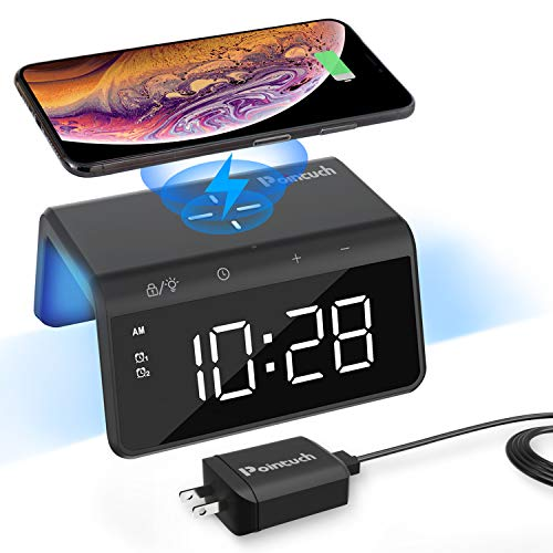 Pointuch Digital Alarm Clock with Qi 10W Wireless Charger, Colorful Night Light, USB Charging Port ,Snooze, Dual Alarm, 4 Brightness, Fast Wireless Charging for iPhone Samsung Galaxy (Black)