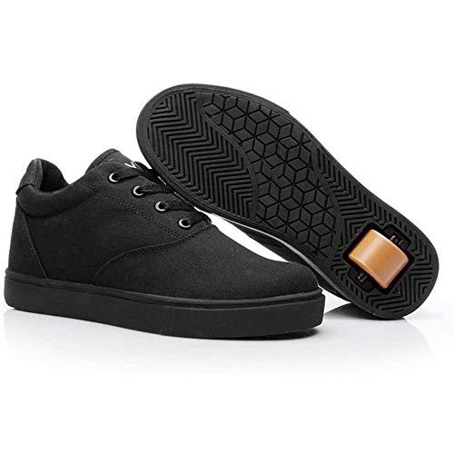 XRDSHY Zapatos De Lona para Niñas Y Niños Zapatos con Ruedas Zapatillas para Skateboard Calzado Deportivo Multifuncional para Correr,Black-38 EU