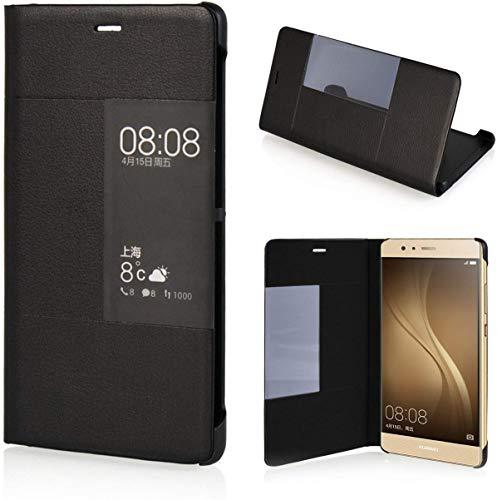 Leder Tasche Schutzhülle Case Flip View Cover für Huawei P9 Schwarz - 2