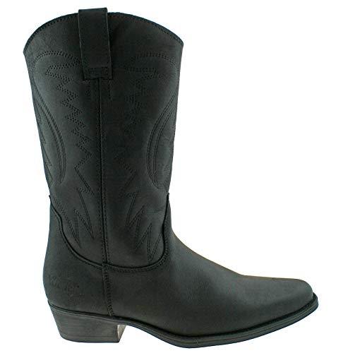 Wrangler Texas II HI Mens Leather Calf Length Cowboy Boots Black UK 11