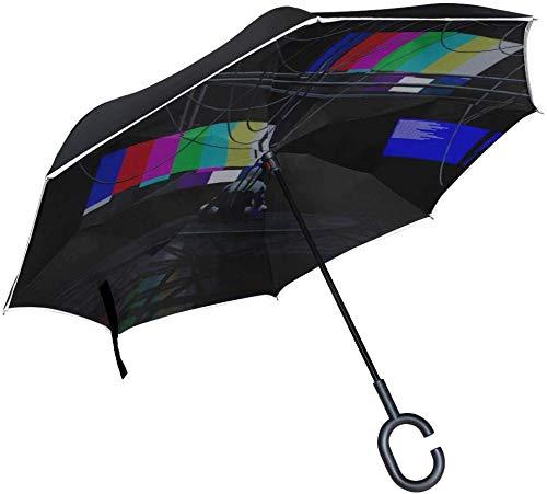 t Test Chart Inverted Umbrella Großer, doppelschichtiger Außenregen-Sonnen-Auto-Wende-Regenschirm