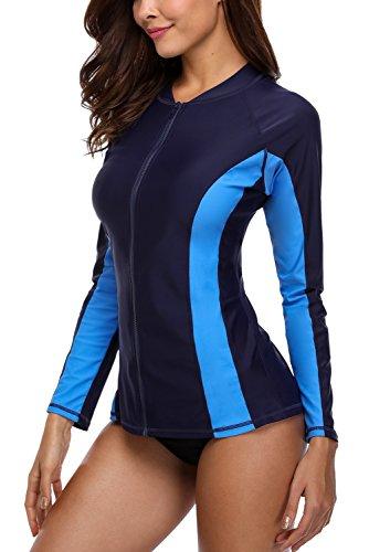 Charmo - Camiseta de manga larga con cremallera UV para mujer, Mujer, color 1-azul marino/azul, tamaño Large