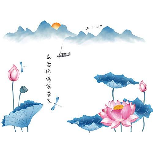 ZINSALE Selbstklebende Tapete Des Alten Reims Des Chinesischen Stils Der Alten Reimlotuslandschaft Des Wohnzimmerhintergrundes