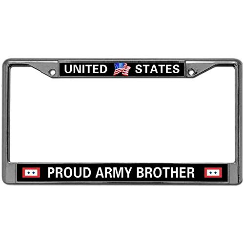 Kingchoo License Plate Metal Frame Matching Screws Caps Love US Army Quotes Metal License Plate Frame Tag United States Proud Army Brother Vehicle License Plate Frame