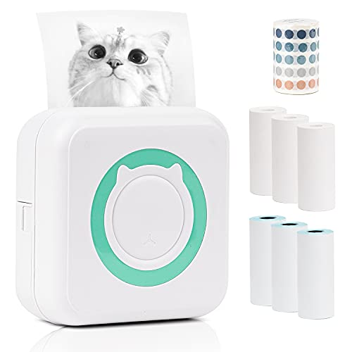 Mini Thermal Photo Printer Work with Bluetooth for iPhone and Android Phone, Come with 6 Rolls Printer Paper + Cute Circle Stickers, Portable Pocket Printer forfor Journal, Notes, Gift for Girls