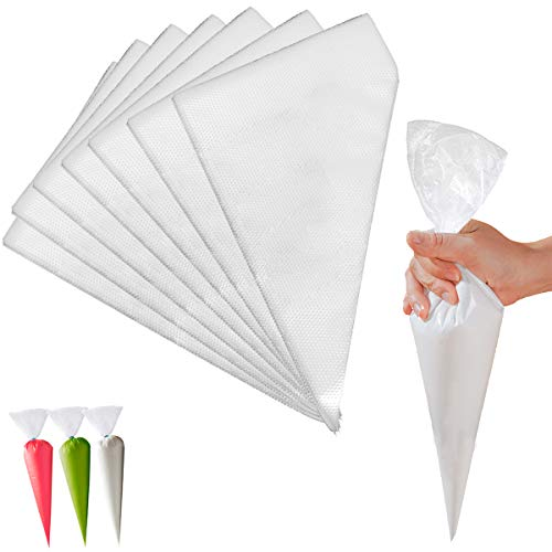 Piping Bags,FEIPUKER 100 PCS disposable Pastry Bags - Cookie Cake icing bags Decorating Supplies (white)