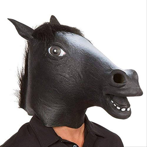 PMWLKJ Ao Nuevo Mscara de cabeza de caballo Disfraz de animal Juguetes Fiesta Decoracin de patio de Halloween Como se muestra Negro