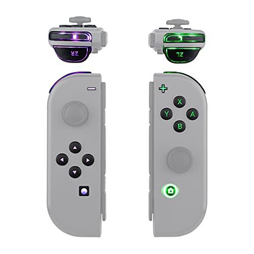 eXtremeRate Tasten für NS Switch Joycon(Kein Joycon Controller),ABXY Knöpfe Tasten Trigger DFS LED Kit für Nintendo Switch Joy-Con-Klassische Symbole Leuchttaste(7 Farben 9 Modi, Tasten-Control)