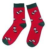 Weri Spezials Frohe Weihnachten Herren Socken mit lustigen Weihnachtsmotiven! In mehreren Mustern- & Farbvariationen! (39-42, Rot Weihnachtsmann)