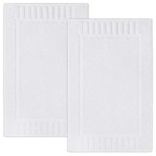 Luxury Bath Mat Floor Towel Set - Absorbent Cotton Hotel Spa Shower/Bathtub Mats [Not a Bathroom Rug] 22'x34' | White | 2 Pack