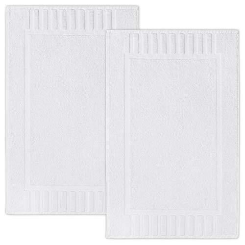 Luxury Bath Mat Floor Towel Set - Absorbent Cotton Hotel Spa Shower/Bathtub Mats [Not a Bathroom Rug] 22'x34' | White | 2 Pack