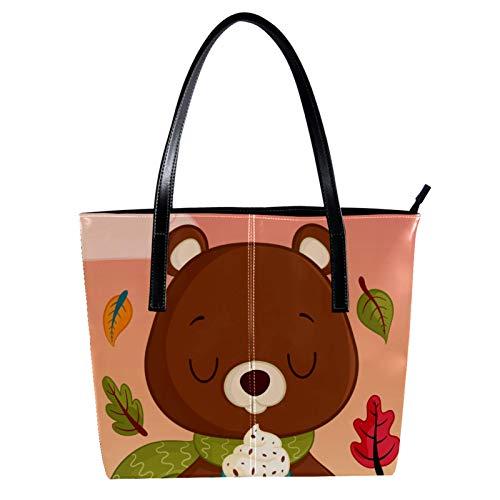 LORVIES Schöne Cartoon-Teddy mit Eiscreme _Mesa De Trabajo PU Leder Schultertasche Handtasche Handtasche Damen