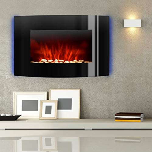 Klarstein Lausanne Black Edition - Chimenea eléctrica, 1000/ 2000W, Fuego virtual, Llamas simuladas, Iluminación LED, Función DIMM, Mando a distancia, Instalación en pared, Frontal vidriado, Negro
