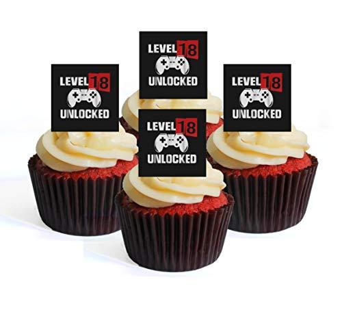 Essbare Cupcake-Topper zum 18. Geburtstag, Gamer Level Up, Aufstell-Oblatendekoration, 24 Stück