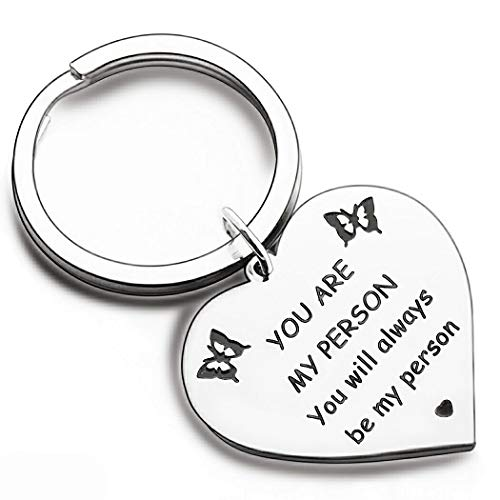 Best Friend Keychain Butterfly for Women Her You are My Person Keychains Birthday Jewelry for Him Girlfriend Boyfriend Husband Wife Sister Wedding Valentines Graduation Day Key Ring Jewelry Gifts