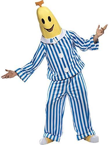 Halloweenia - Herren Männer Bananas in Pyjamas Kostüm mit Oberteil, Hose, Kopfbedeckung und Schuhüberzieher, perfekt für Karneval, Fasching und Fastnacht, M, Blau