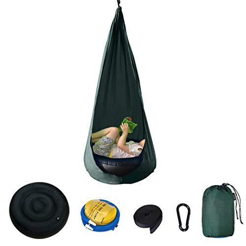 Asiento para Columpio para NiñOs, con Kits de Hardware y Bomba de Aire para Colgar La Silla Hamaca Columpio para NiñOs, Uso en Interiores y Exteriores, FáCil de Instalar,Dark Green