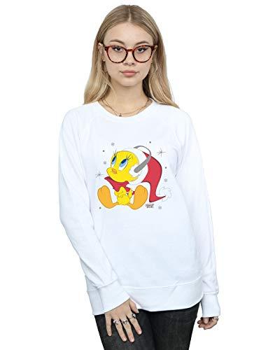 Absolute Cult Looney Tunes Damen Christmas Tweety Sweatshirt Weiß Large