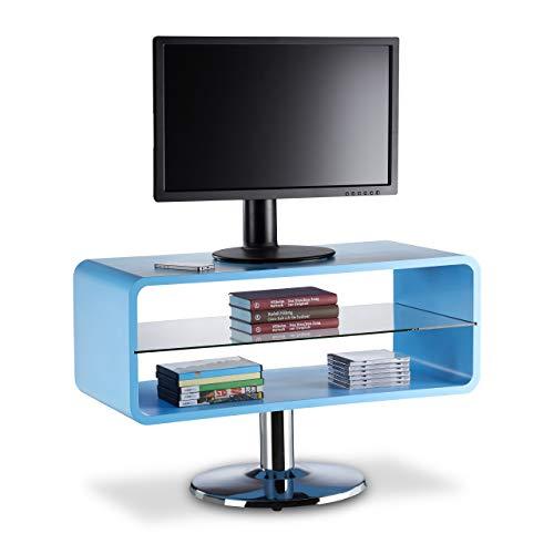 Relaxdays 10021918_45 TV Meuble télé HiFi Vintage Design rétro 60s 70s Plateau Verre 2 Niveaux Pied HxlxP: 52 x 81 x 40 cm, Bleu, Bois Dense, 40 x 81 x 52 cm