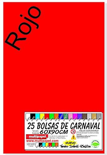 BOLSA PLASTICO CARNAVAL PAQUETE 25 BOLSAS 60X90CM