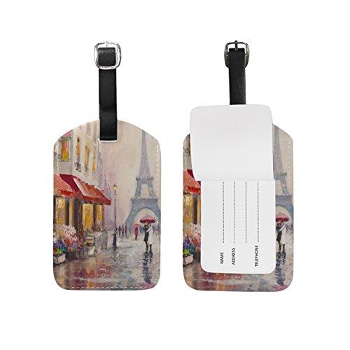 My Daily Paris - Etiquetas para equipaje de piel sintética con diseño de Torre Eiffel (2 unidades)
