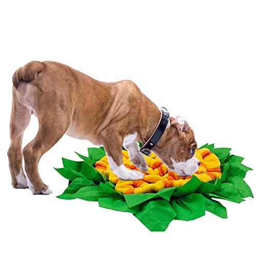 Coomazy Alfombra olfativa Perros, Alfombrilla para Snuffle para Perros Alfombrilla de alimentación para Perros, Juguetes para Perros para Mascotas (Redondo 50 * 50 cm, Amarillo)