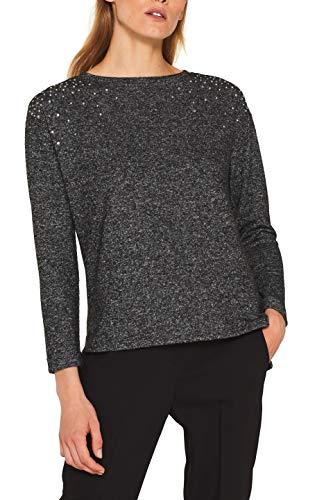 ESPRIT Collection Damen 109Eo1K013 Langarmshirt, Schwarz (Black 001), Medium (Herstellergröße: M)