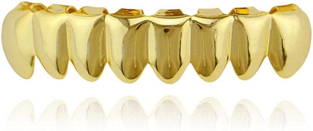 Hip Hop Teeth 18k real gold plating upper 8 lower 8 smooth hip-hop braces dentures