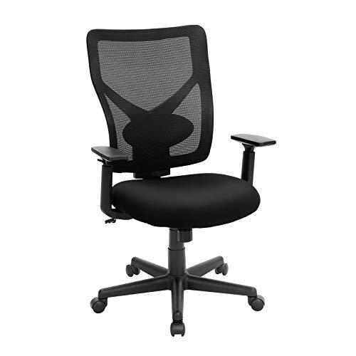 SONGMICS Bürostuhl in Netzoptik, ergonomischer Drehstuhl mit Kippmechanismus, gepolsterter Sitz, verstellbare Armlehnen, Belastbarkeit 120 kg, schwarz OBN36BK