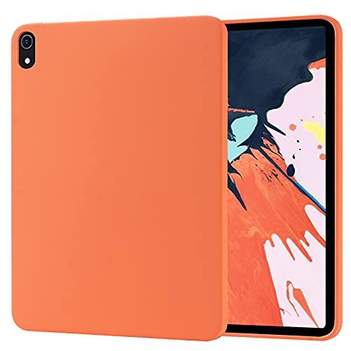 Funda para iPad Pro 12.9' (3ª generación) 2018, Carcasa de Silicona Líquida Suave Antichoque Bumper, Fundas Silicona Líquida Protección con Forro de Microfibra,Orange