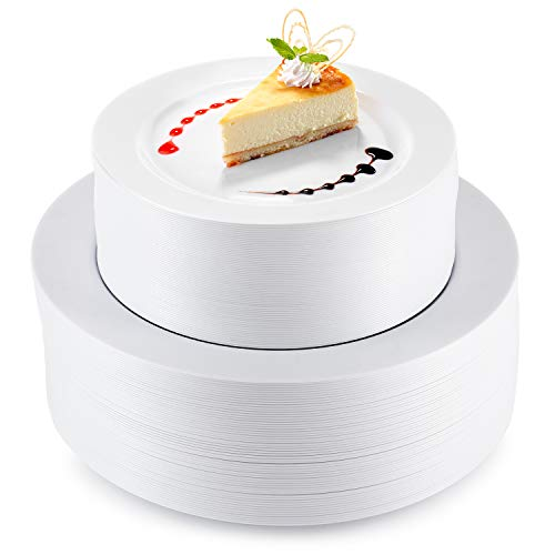 StarMar White Plastic Dinner Plates | 120 Pack | 60-10.2 Inch Disposable Fancy Dinner China Look Plate, 60-7.5 Inch Dessert Heavy Duty Plastic Plates for Wedding and Party Dinnerware,