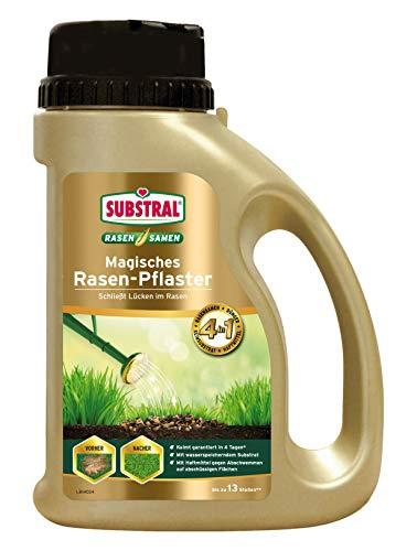 Substral Magisches Rasen-Pflaster, 3in1 Rasenreparatur Rasensamen + Premium Keimsubstrat + Dünger, 1 kg Streuflasche