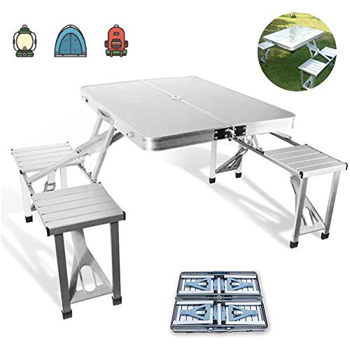 ZLALF Folding Picnic Camping Table And Chairs, Aluminum Outdoor Picnic Portable One-Piece Dining Table Set,For BBQ Picnic Party