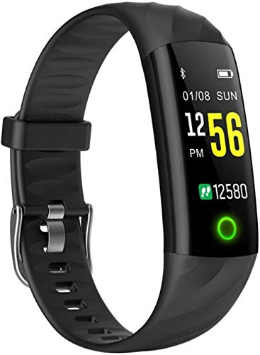 Fitness Smart Watch Hombres Mujeres Monitor de ritmo cardíaco Podómetro Deporte Reloj Inteligente Con Lámpara Para Correr Noche-Negro