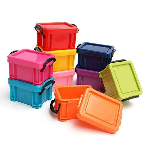 9 teiliges Set Mini Stapelbare Aufbewahrungsboxen Aufbewahrungskisten aus Kunststoff mit Verschlussklammern am Deckel von Kurtzy - Kleines Buntes Kisten Set - Organisator Kisten für Auto, Büro und Küche - Hochleistungsstarke und Stabile Boxen für die Organisation