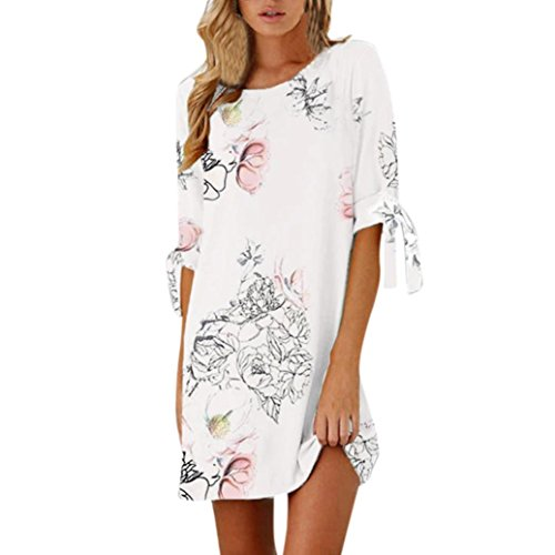 ESAILQ Damen Vintage Sommerkleid Traeger mit Flatterndem Rock Blumenmuster Frauen Rundhals Casual Loose T-Shirt Kleid(XXL,Weiß)